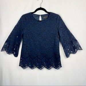 Banana Republic Lace Bell-Sleeve Navy Blue Top XS